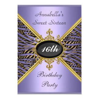 """Fiesta de cumpleaños de color de malva púrpura del invitación 5"""" x 7"""""""