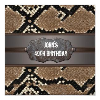 """Fiesta de cumpleaños de cuero de la piel de invitación 5.25"""" x 5.25"""""""