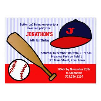 Fiesta de cumpleaños de encargo linda del béisbol invitación personalizada