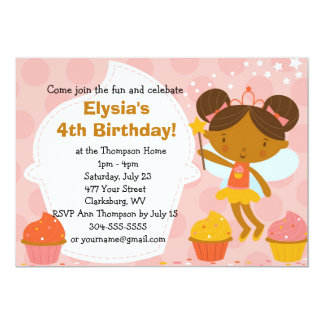 """Fiesta de cumpleaños de encargo - princesa Cupcake Invitación 5"""" X 7"""""""