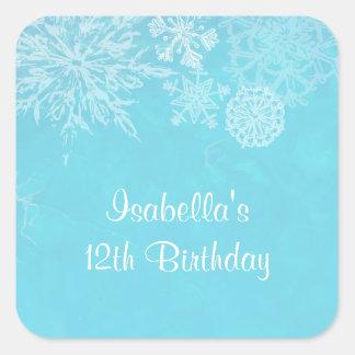 Fiesta de cumpleaños de Frost del copo de nieve Pegatina Cuadrada