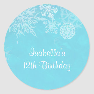 Fiesta de cumpleaños de Frost del copo de nieve Pegatina Redonda