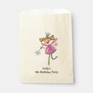 fiesta de cumpleaños de hadas rosada del chica de bolsas de recuerdo