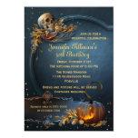 """Fiesta de cumpleaños de Halloween del cráneo y de Invitación 5"""" X 7"""""""