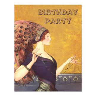 Fiesta de cumpleaños de la aleta del pavo real del anuncio