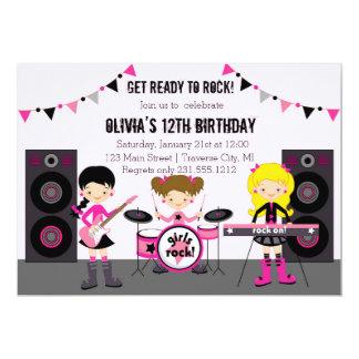"""Fiesta de cumpleaños de la banda del chica de la invitación 5"""" x 7"""""""