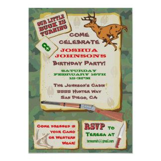 Fiesta de cumpleaños de la caza de los ciervos de invitación 12,7 x 17,8 cm