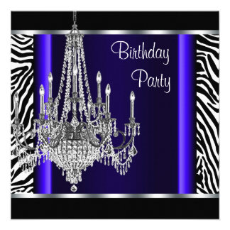 Fiesta de cumpleaños de la cebra del azul real de  invitación personalizada