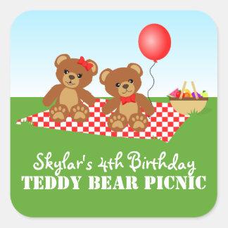 Fiesta de cumpleaños de la comida campestre del pegatina cuadrada