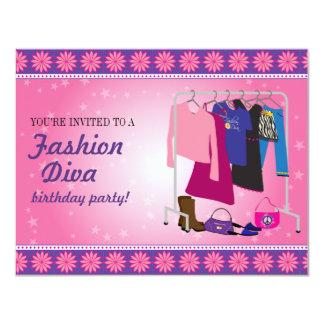 """Fiesta de cumpleaños de la diva de la moda invitación 4.25"""" x 5.5"""""""