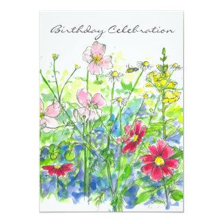 """Fiesta de cumpleaños de la flor de la acuarela del invitación 5"""" x 7"""""""