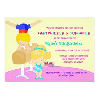 Fiesta de cumpleaños de la gimnasia de los invitación 12,7 x 17,8 cm