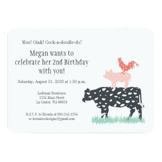"""Fiesta de cumpleaños de la granja divertida invitación 5"""" x 7"""""""
