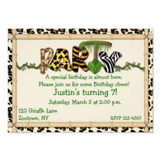 Fiesta de cumpleaños de la impresión de la selva comunicados personalizados
