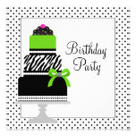 Fiesta de cumpleaños de la magdalena de la torta d invitación