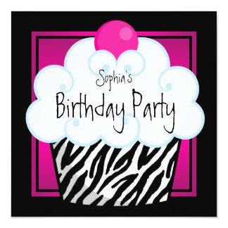 Fiesta de cumpleaños de la magdalena de los chicas invitación 13,3 cm x 13,3cm