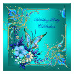 Fiesta de cumpleaños de la mariposa del azul real  invitacion personal