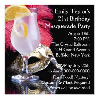 Fiesta de cumpleaños de la máscara de la pluma 21r invitacion personalizada
