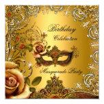 Fiesta de cumpleaños de la máscara del oro de la invitación 13,3 cm x 13,3cm