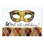 Fiesta de cumpleaños de la mascarada del Harlequin Invitación 12,7 X 17,8 Cm
