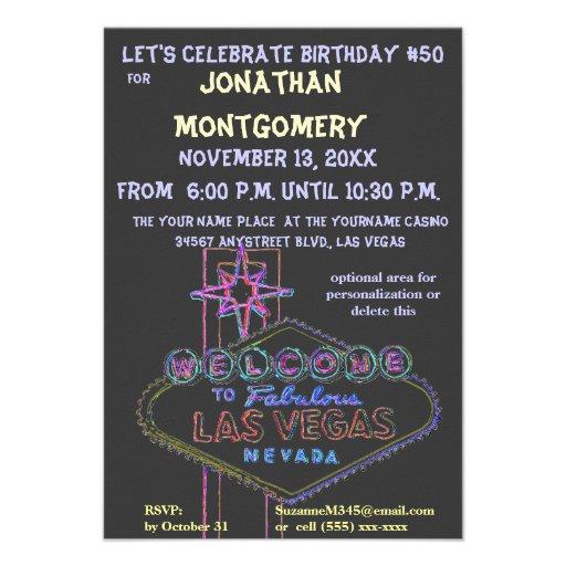 Fiesta de cumpleaños de la muestra de Las Vegas qu Invitacion Personal