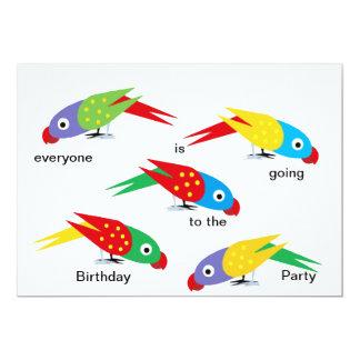 Fiesta de cumpleaños de la multitud del loro invitación 12,7 x 17,8 cm