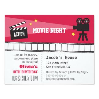 """Fiesta de cumpleaños de la noche de película de invitación 4.25"""" x 5.5"""""""