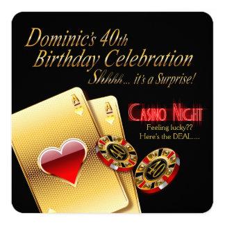 """Fiesta de cumpleaños de la noche del casino de invitación 5.25"""" x 5.25"""""""