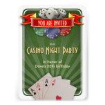 Fiesta de cumpleaños de la noche del póker del invitacion personal