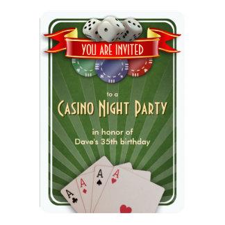 Fiesta de cumpleaños de la noche del póker del invitación 12,7 x 17,8 cm