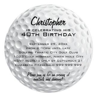 """Fiesta de cumpleaños de la pelota de golf invitación 5.25"""" x 5.25"""""""