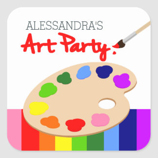 Fiesta de cumpleaños de la pintura de la paleta pegatina cuadrada