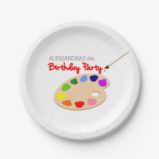 Fiesta de cumpleaños de la pintura de la paleta plato de papel de 7 pulgadas