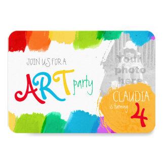 Fiesta de cumpleaños de la pintura del fiesta del invitacion personalizada