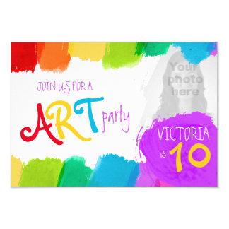 """Fiesta de cumpleaños de la pintura del fiesta del invitación 3.5"""" x 5"""""""