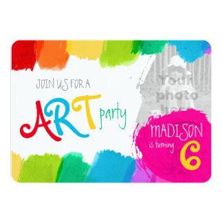 """Fiesta de cumpleaños de la pintura del fiesta del invitación 5"""" x 7"""""""