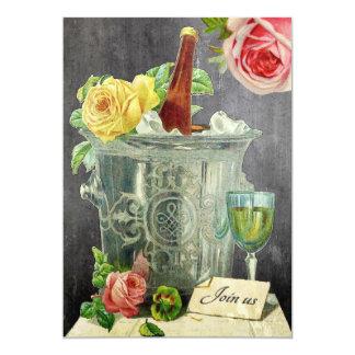 Fiesta de cumpleaños de la pizarra de los rosas de invitación 12,7 x 17,8 cm