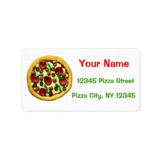 Fiesta de cumpleaños de la pizza etiqueta de dirección