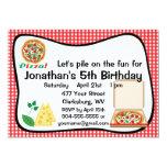 Fiesta de cumpleaños de la pizza comunicado personalizado