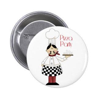 Fiesta de cumpleaños de la pizza pin redondo 5 cm
