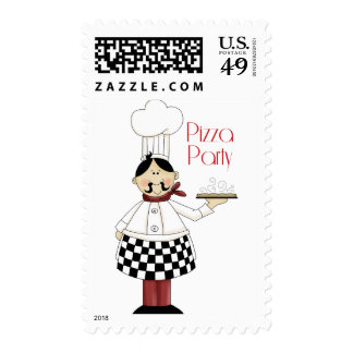 Fiesta de cumpleaños de la pizza sello
