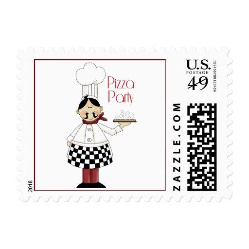 Fiesta de cumpleaños de la pizza timbre postal