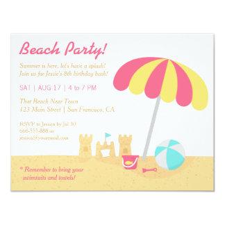 """Fiesta de cumpleaños de la playa de los castillos invitación 4.25"""" x 5.5"""""""