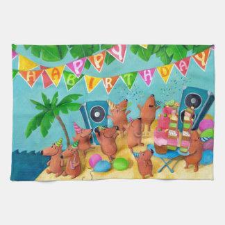 Fiesta de cumpleaños de la playa toalla de mano