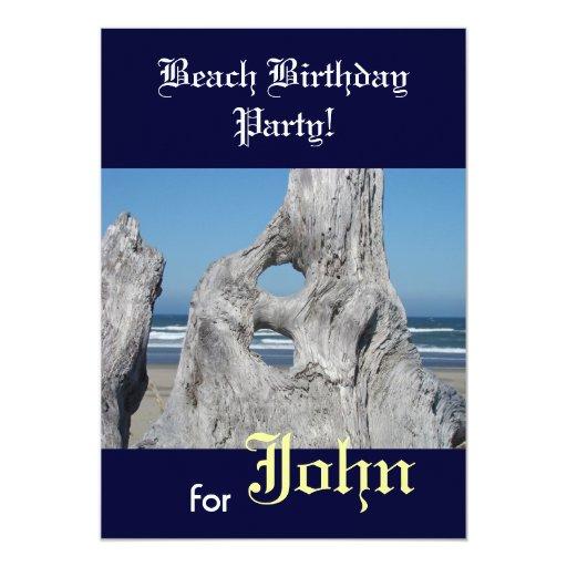"""Fiesta de cumpleaños de la playa para sus invitación 5"""" x 7"""""""