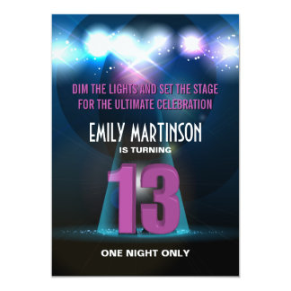 """Fiesta de cumpleaños de la púrpura de la estrella invitación 5"""" x 7"""""""