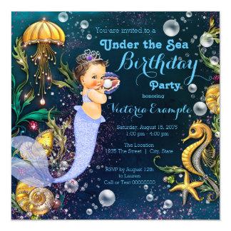 """Fiesta de cumpleaños de la sirena invitación 5.25"""" x 5.25"""""""