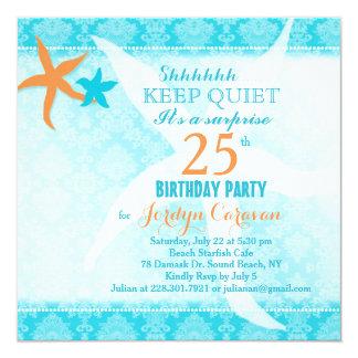 """Fiesta de cumpleaños de la sorpresa de las invitación 5.25"""" x 5.25"""""""