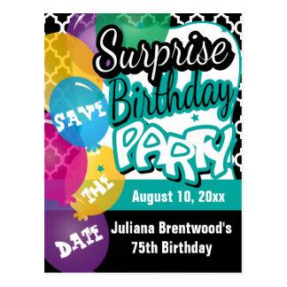 Fiesta de cumpleaños de la sorpresa en reserva del tarjetas postales