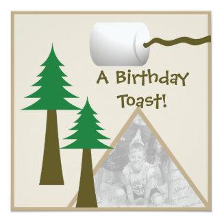 """Fiesta de cumpleaños de la tostada de la melcocha invitación 5.25"""" x 5.25"""""""